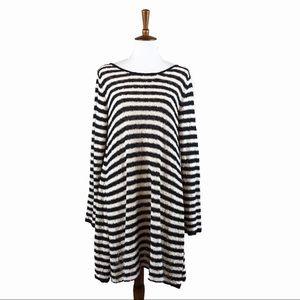 Free People Striped Knit Tunic Dress Open Back
